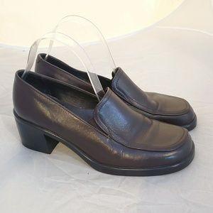 Walking Company Italian Leather Block Heel Loafer